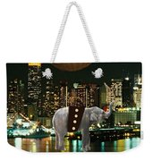 Flight Over The New York Skyline On A Hot Air Balloon Weekender Tote Bag by Marvin Blaine