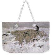 Flock Of Sheep In The Snow Weekender Tote Bag