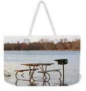 Flooded Park Bench Lunch Weekender Tote Bag
