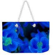 Floral Blue Orchid On Black Weekender Tote Bag