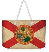 Florida State Flag Art On Worn Canvas Weekender Tote Bag