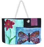 Flower And Butterfly Weekender Tote Bag