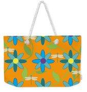 Flower And Dragonfly Design With Orange Background Weekender Tote Bag
