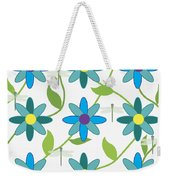Flower And Dragonfly Design With White Background Weekender Tote Bag