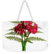 Flower Arrangement With Ferns And Zinnias Weekender Tote Bag