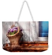 Flower - Pansy - Basket Of Flowers Weekender Tote Bag by Mike Savad