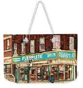 Flower Shop Rue Notre Dame Street Coin Vert Fleuriste Boutique Montreal Winter Stroll Scene Weekender Tote Bag