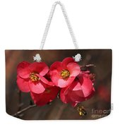 Flowering Quince With Bee Weekender Tote Bag