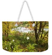 Flowers Along The River In Fall Weekender Tote Bag