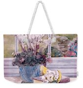Flowers And Book On Table Weekender Tote Bag