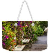 Flowers By A Bench  Weekender Tote Bag