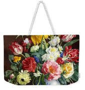 Flowers In A Blue And White Vase Weekender Tote Bag