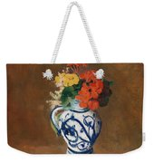 Flowers In A Blue Vase Weekender Tote Bag by Odilon Redon