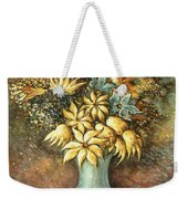 Flowers In Blue Vase - Still Life Oil Weekender Tote Bag