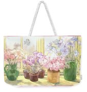 Flowers On The Windowsill Weekender Tote Bag by Julia Rowntree