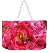 Flowers-roses-pink-bee Weekender Tote Bag