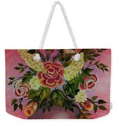 Flowers With Red Background Weekender Tote Bag