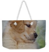 Fluffy Golden Puppy Weekender Tote Bag