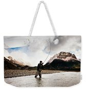 Fly Fishing At The Base Of Fitz Roy Weekender Tote Bag