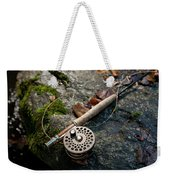 Fly Rod And Reel Detail On Mossy Wet Weekender Tote Bag