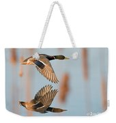 Skimming The Pond Through Cattails Weekender Tote Bag