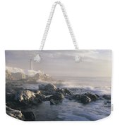 Fog And Rocky Shoreline In Winter With Weekender Tote Bag