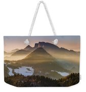 Fog Covered Mountains At Sunset Weekender Tote Bag