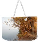 Foggy Autumn Riverbank Weekender Tote Bag