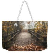 Foggy Lake Park Footbridge Weekender Tote Bag by Scott Norris