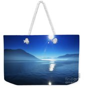 Foggy Lake With Sun Weekender Tote Bag