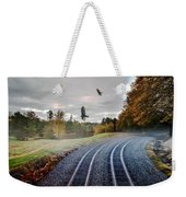 Foggy Nature Along The Train Tracks Weekender Tote Bag
