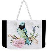 Folk Art Bird Embroidery Illustration Weekender Tote Bag