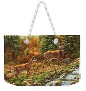 Whitetail Deer - Follow Me Weekender Tote Bag by Crista Forest