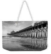 Folly Beach Pier In Black And White Weekender Tote Bag