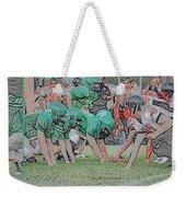 Football Playing Hard 3 Panel Composite Digital Art 01 Weekender Tote Bag