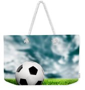 Football Soccer A Leather Ball On Grass Weekender Tote Bag