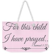 For This Child Small Pink Weekender Tote Bag