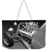 Ford Coupe Hot Rod Engine In Black And White Weekender Tote Bag