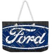 Ford Motor Company Retro Logo License Plate Art Weekender Tote Bag