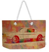 Ford Mustang Watercolor Portrait On Worn Distressed Canvas Weekender Tote Bag