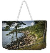 Forest And Rocky Shore In Acadia National Park Weekender Tote Bag