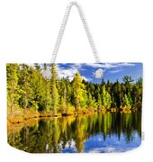 Forest And Sky Reflecting In Lake Weekender Tote Bag by Elena Elisseeva