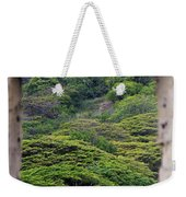 Forest Canopy Through The Window Of The Ruins Weekender Tote Bag