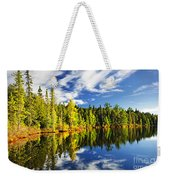Forest Reflecting In Lake Weekender Tote Bag