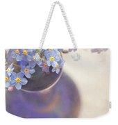 Forget Me Nots In Blue Vase Weekender Tote Bag by Lyn Randle