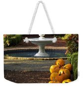 Fountain And Pumpkins At The Elizabethan Gardens Weekender Tote Bag