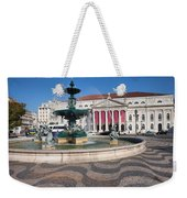 Fountain And Theater On Rossio Square In Lisbon Weekender Tote Bag
