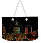 Fountain At City Garden In Neon Framed Weekender Tote Bag