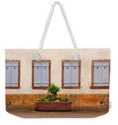 Four Pale Blue Shutters In Alsace France Weekender Tote Bag