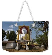 four sitting Buddhas 30 metres high looking in four points of the compass at Kyaikpun Pagoda Weekender Tote Bag